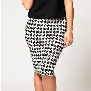 ASOS   Houndstooth print knee length skirt